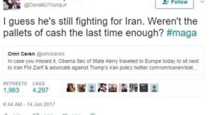 توئیت تند پسر ترامپ علیه جان کری/عکس
