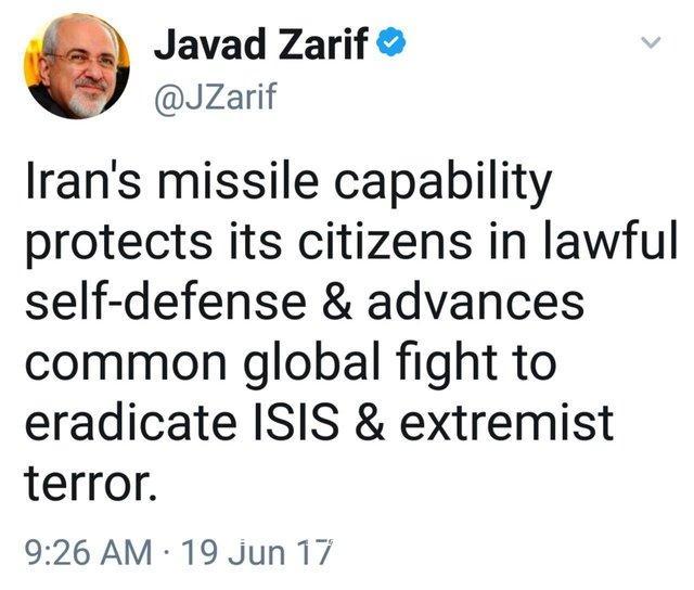 www.dustaan.com عکس: توئیت جدید ظریف درباره توان موشکی ایران
