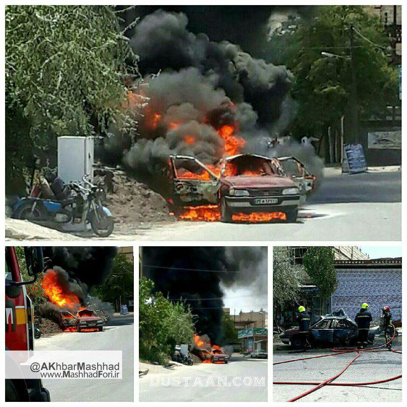www.dustaan.com انفجار خودرو در روستای ده غیبی مشهد +تصاویر