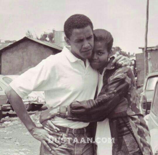 www.dustaan.com ژست عاشقانه میشل و باراک اوباما  1992