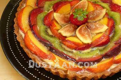www.dustaan.com آموزش تهیه تارت میوه ای شکلاتی در خانه