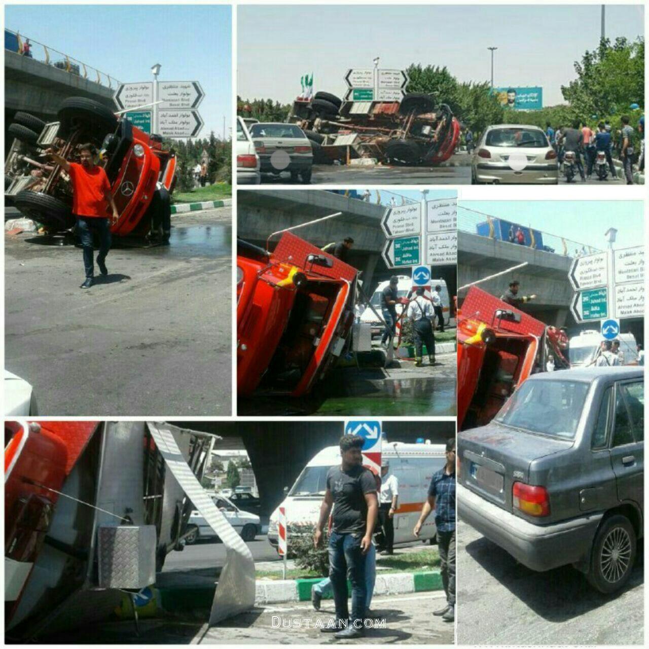 www.dustaan.com واژگونی خودرو آتش نشانی در مشهد +عکس