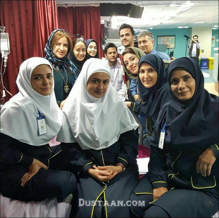 www.dustaan.com لیندا کیانی و فاطمه گودرزی در پشت صحنه فصل دوم پرستاران +عکس