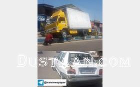 www.dustaan.com پرواز کامیون پس از برخورد شدید به پراید! +عکس