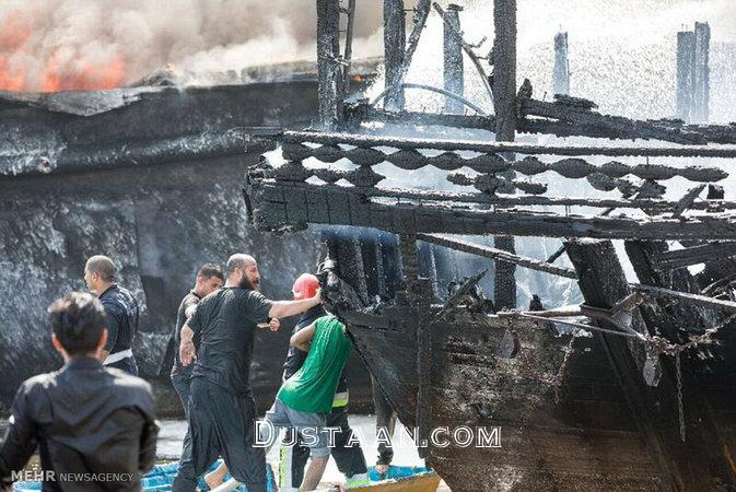 www.dustaan.com تصاویر کامل از آتش سوزی اسکله کنگان