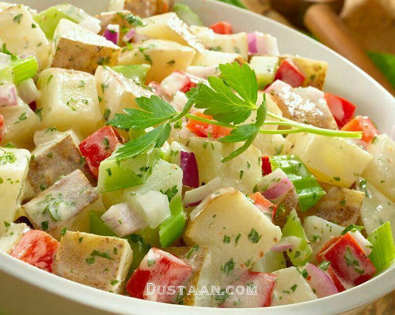 www.dustaan.com طرز تهیه سالاد سیب زمینی به سبکی خوشمزه