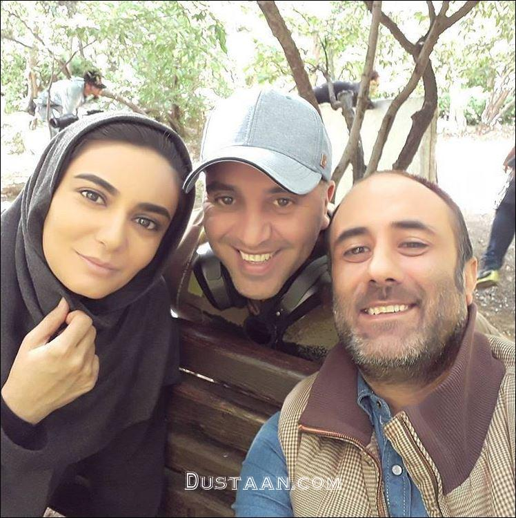 www.dustaan.com لیندا کیانی و شهرام شاه حسینی در پشت صحنه پرستاران +عکس