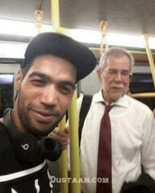 www.dustaan.com سلفی عجیب با آقای رئیس جمهور در مترو! +عکس