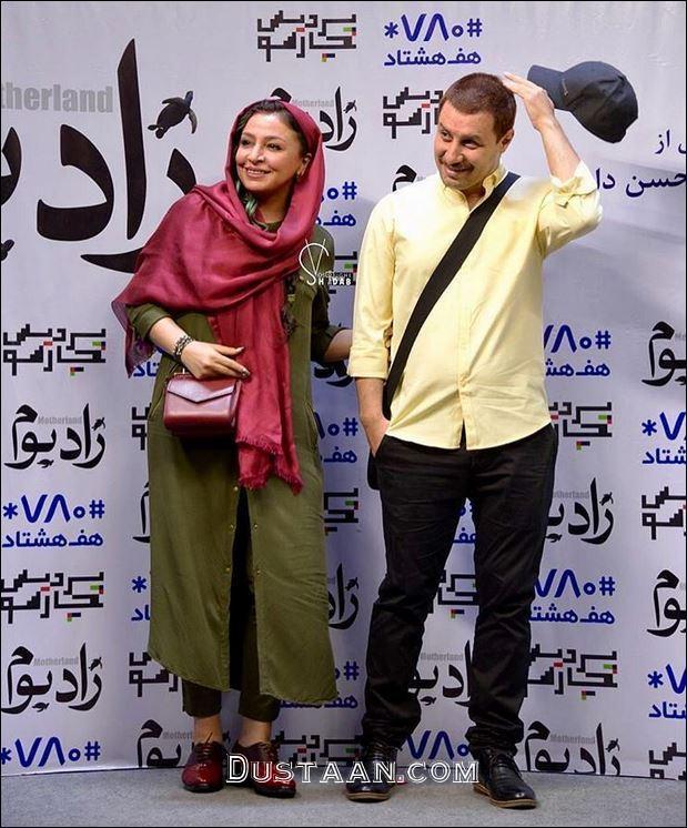 www.dustaan.com جواد عزتی و همسرش مهلقا باقری در مراسم اکران زادبوم