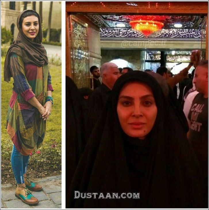 www.dustaan.com تیپ متفاوت حدیثه تهرانی و همسرش در کربلا