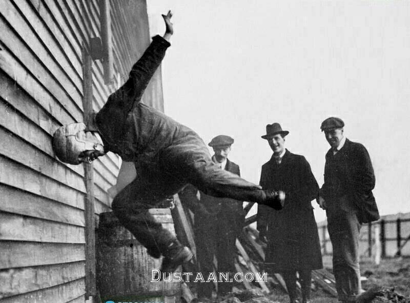 www.dustaan.com تست عجیب کلاه ایمنی در یک قرن پیش!