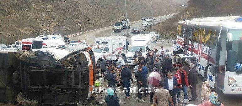 www.dustaan.com سانحه واژگونی اتوبوس گردشگران اصفهانی +عکس