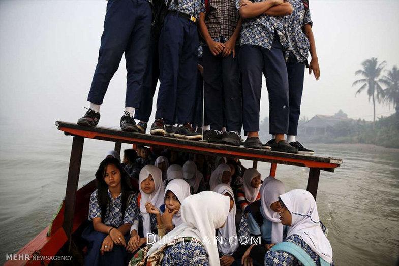 دشواری های دانش آموزان برای رفتن به مدرسه +تصاویر
