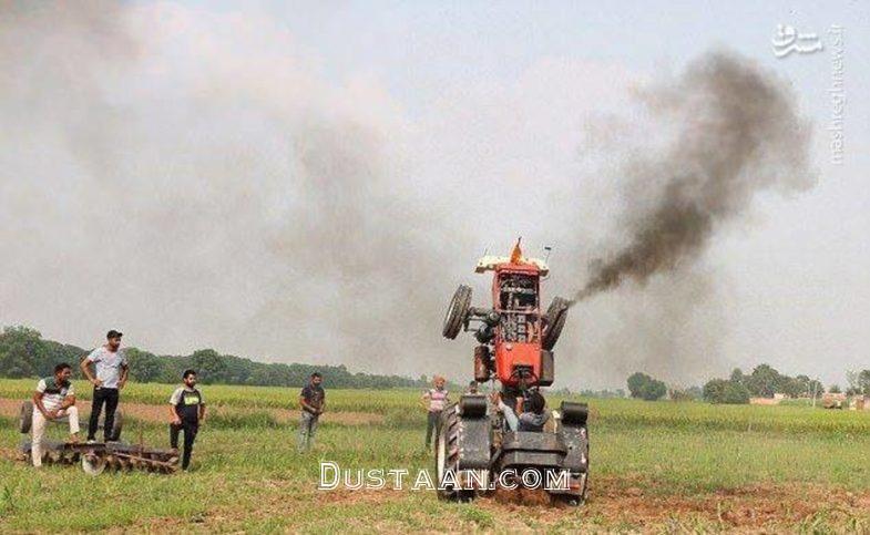 www.dustaan.com تک چرخ زدن جوان هندی با تراکتور! +عکس