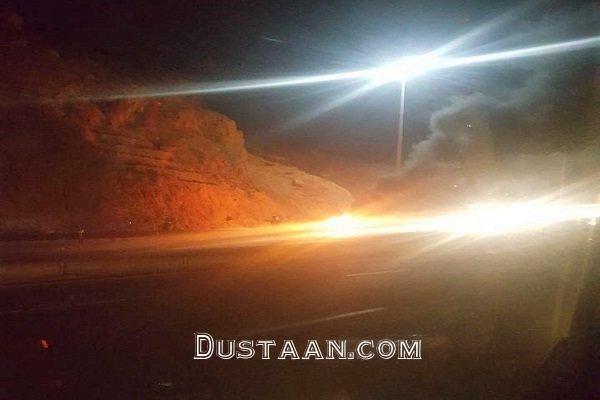 www.dustaan.com عکس: انفجار پراید با سرنشینانش در اتوبان تبریز