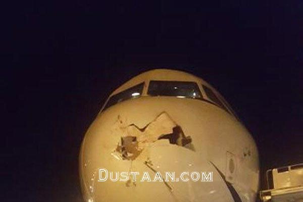 www.dustaan.com برخورد عجیب پرنده با دماغه هواپیمای تفلیس  تهران