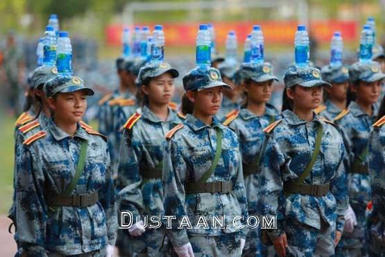www.dustaan.com دانش آموزان دختر در حال انجام تمرینات نظامی! +عکس