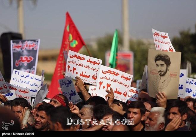 www.dustaan.com گزارش تصویری مراسم تشییع پیکر شهید حججی در نجف آباد