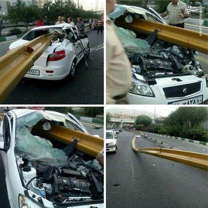 www.dustaan.com برخورد وحشتناک خودرو با گاردریل در تهران +عکس