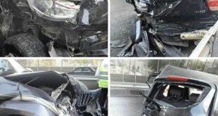 تصادف شدید پرادو با تیبا در اتوبان +عکس