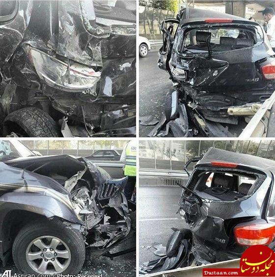 www.dustaan.com تصادف شدید پرادو با تیبا در اتوبان +عکس