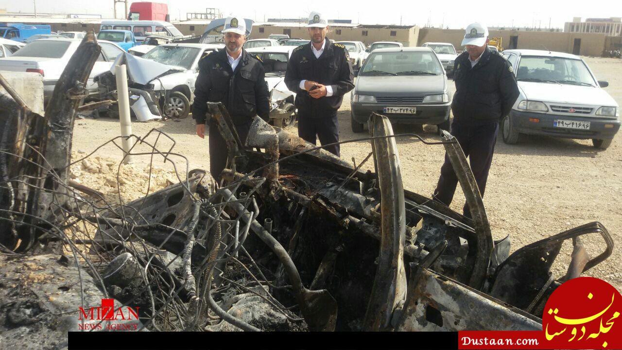 سه نفر در آتش پراید زنده زنده سوختند +عکس