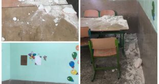 ریزش سقف مدرسه ای در شهرستان «دیر» +عکس