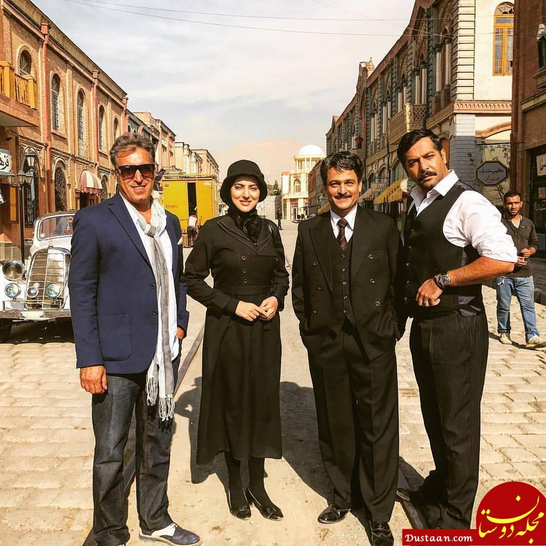 www.dustaan.com حسین یاری و هلیا امامی در پشت صحنه سریال «از یادها رفته»