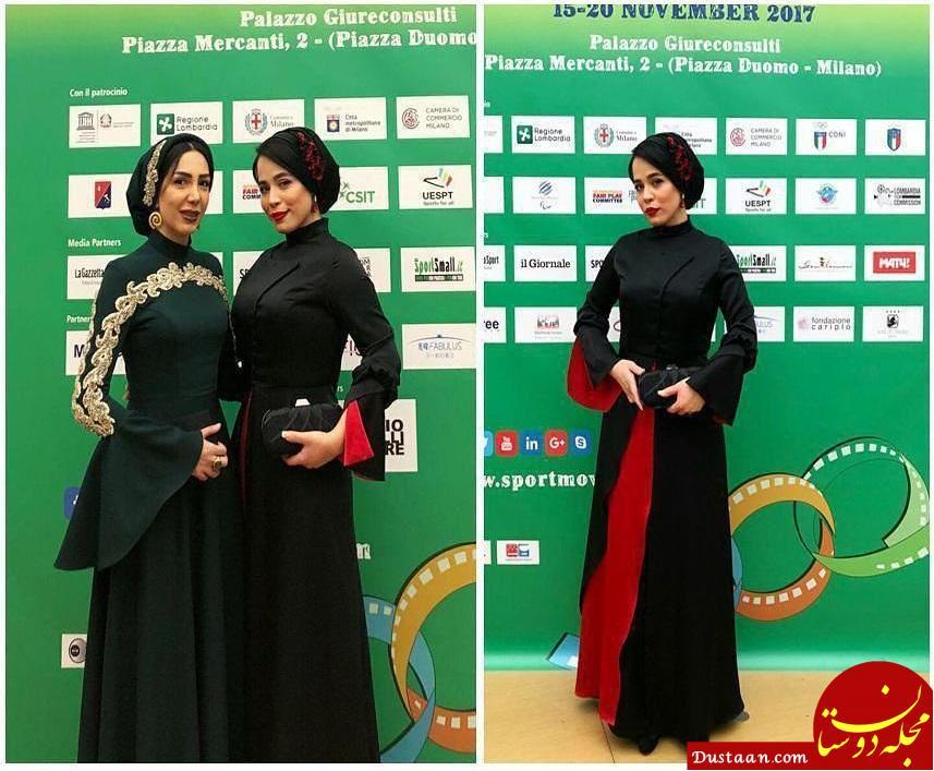 www.dustaan.com تیپ متفاوت ملیکا شریفی نیا در جشنواره ورزشی میلان +عکس