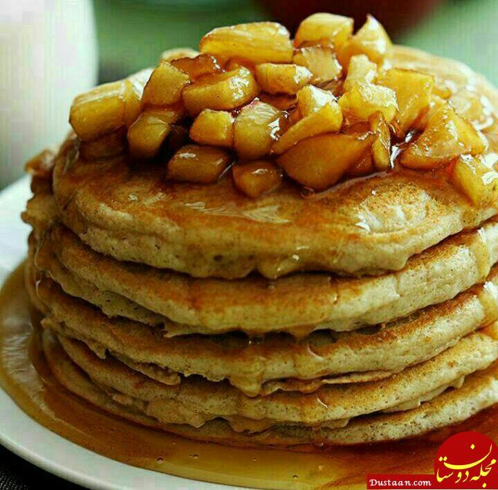 www.dustaan.com طرز تهیه پنکیک سیب و دارچین به سبکی خوشمزه