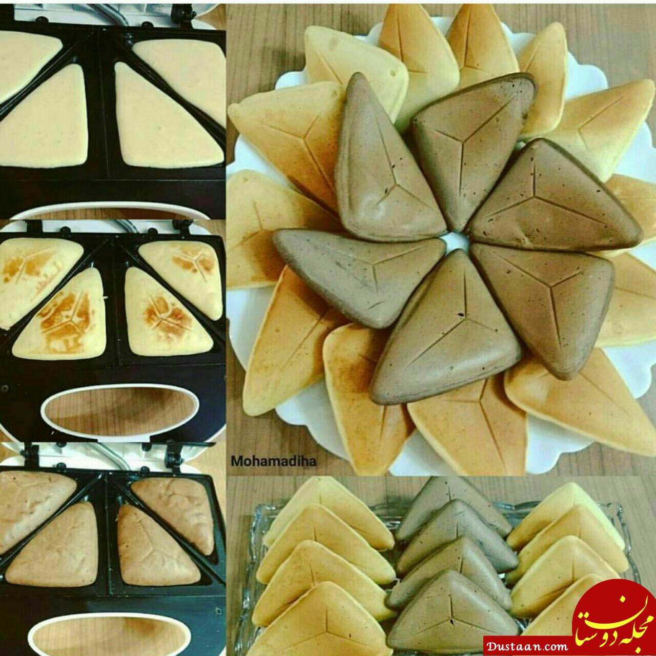www.dustaan.com طرز تهیه کیک ساده مثلثی با ساندویچ ساز به سبکی خوشمزه