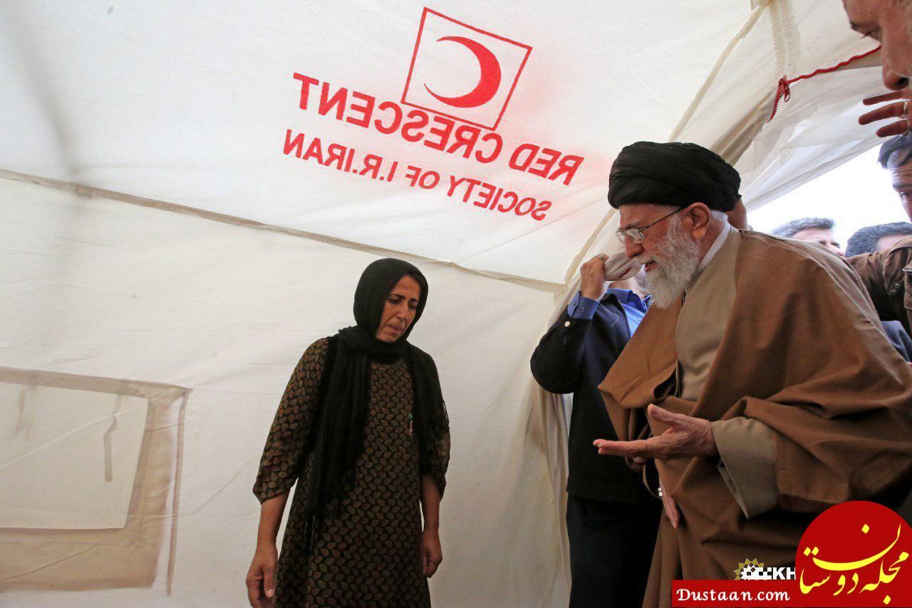 www.dustaan.com رهبر معظم انقلاب در جمع مردم زلزله زده