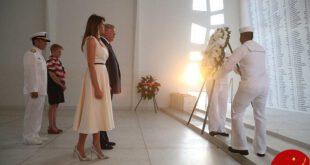 دیدار ترامپ و همسرش از بنای یادبود پرل هاربر +عکس