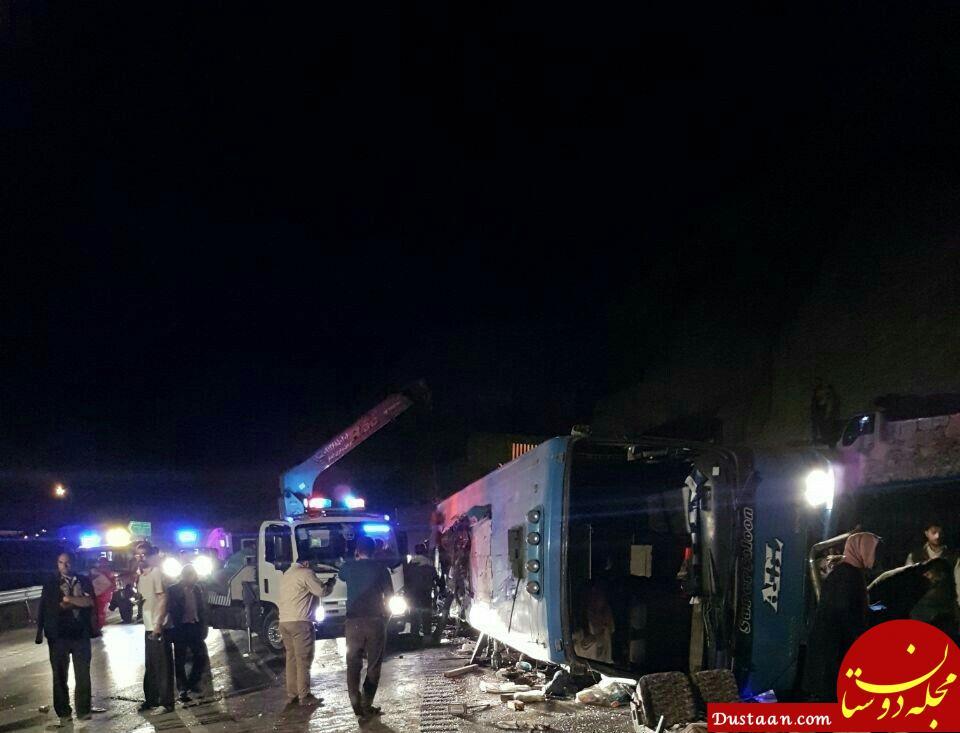 ۱۲ کشته و ۲۰ مصدوم در واژگونی اتوبوس در گردنه گدوک +عکس