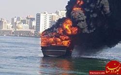 لنج ایرانی در بندر شارجه امارات در آتش سوخت +عکس