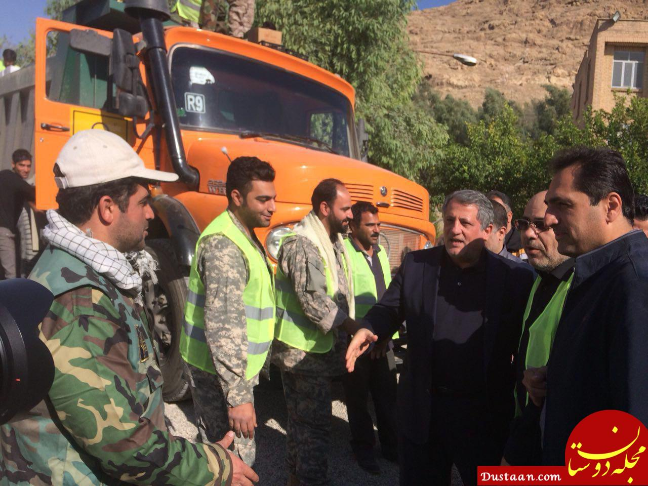 www.dustaan.com محسن هاشمی در میان زلزله زدگان کرمانشاه +عکس