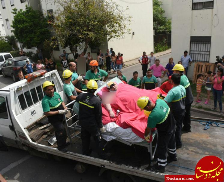 www.dustaan.com تخریب دیوار برای انتقال زن 500 کیلویی به بیمارستان! +عکس