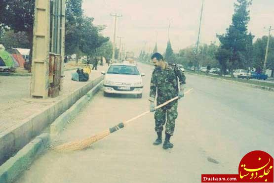 www.dustaan.com نظافت خیابان های شهر زلزله زده سرپل ذهاب توسط یک نظامی!