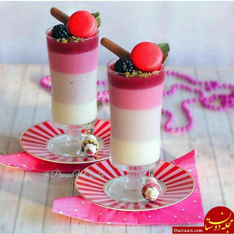 www.dustaan.com تاتلی رنگی لیوانی با میوه دلخواه + طرز تهیه