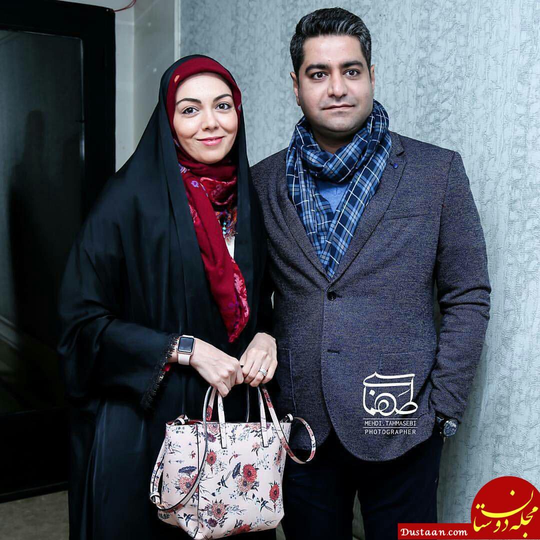 www.dustaan.com آزاده نامداری و همسرش در مراسم اکران آینه بغل +عکس