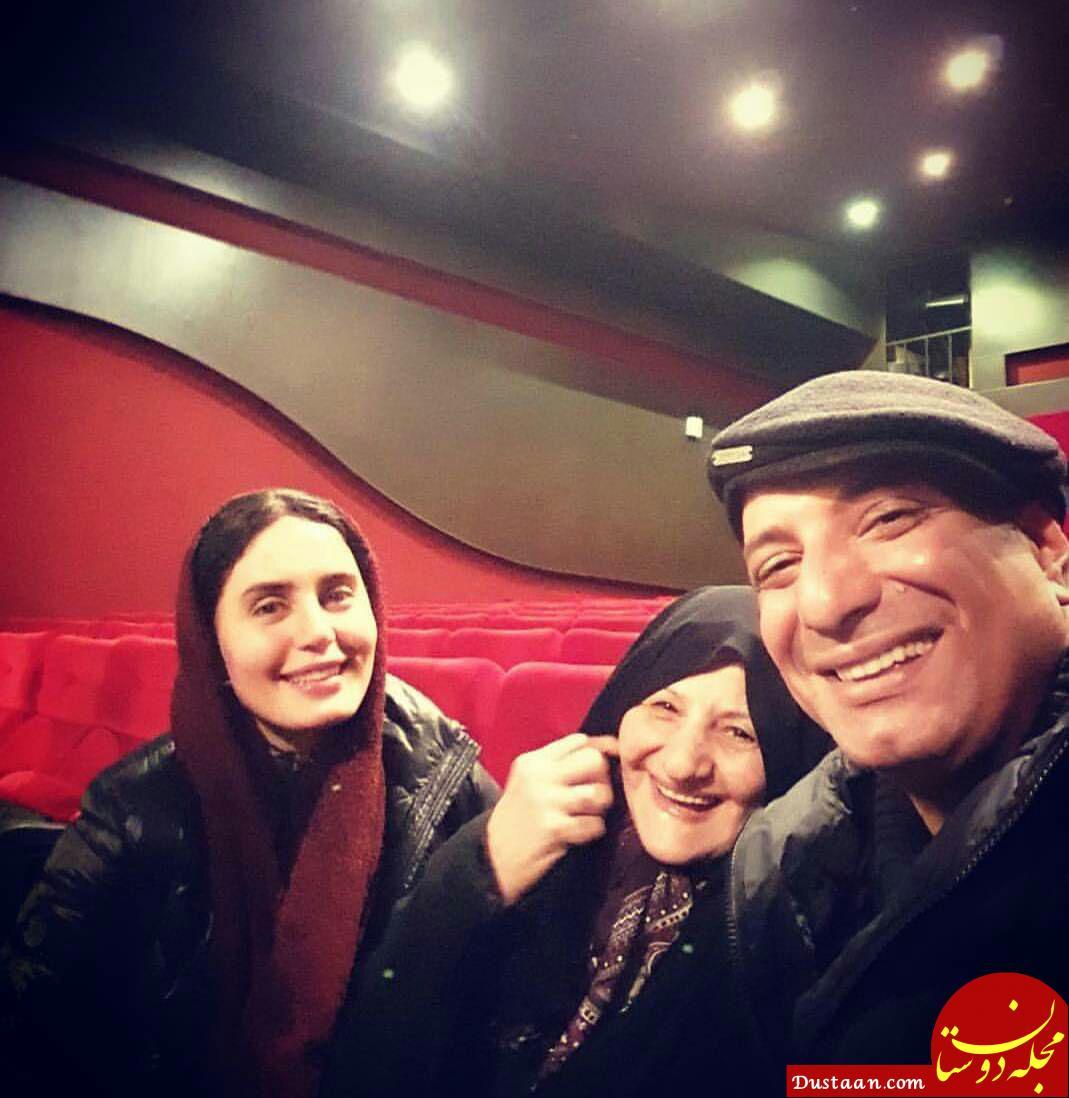 www.dustaan.com سلفی خندان امیر جعفری در کنار مادرش و الناز شاکردوست +عکس