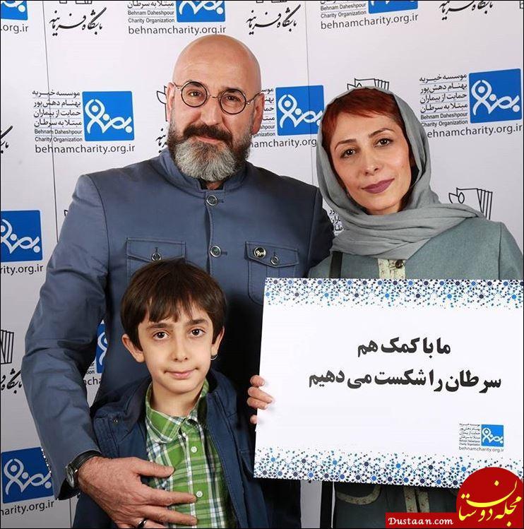صالح میرزا آقایی در کنار همسرش هنگامه طالبیان و فرزندانش +بیوگرافی