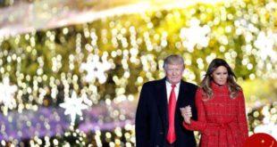 درخت کریسمس کاخ سفید در حضور ترامپ روشن شد! +تصاویر