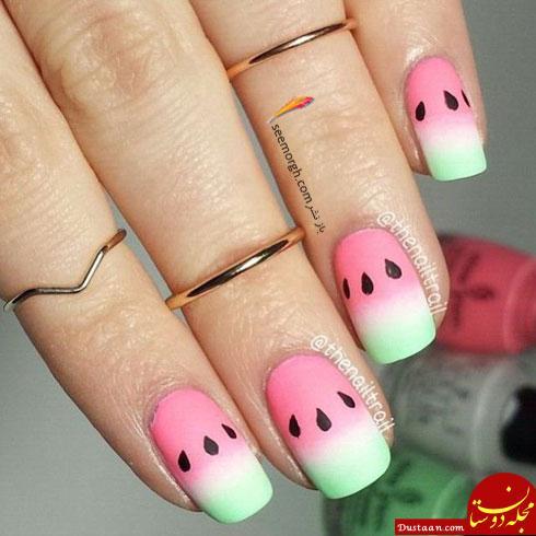 www.dustaan.com بهترین مدل های طراحی ناخن به شکل هندوانه برای شب یلدا + تصاویر
