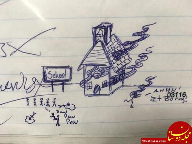 www.dustaan.com دستگیری دانش آموز به خاطر نقاشی عجیب پدرش! +عکس