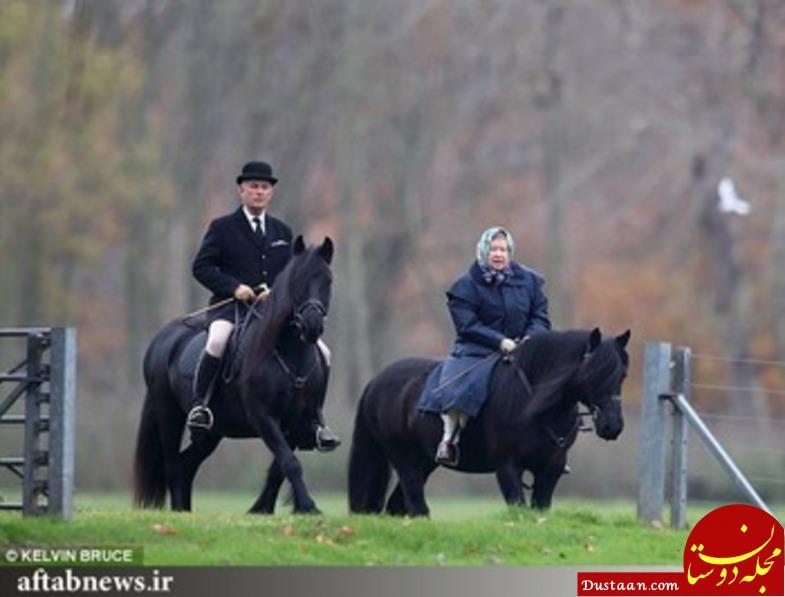 www.dustaan.com اسب سواری ملکه ۹۱ ساله بریتانیا +تصاویر