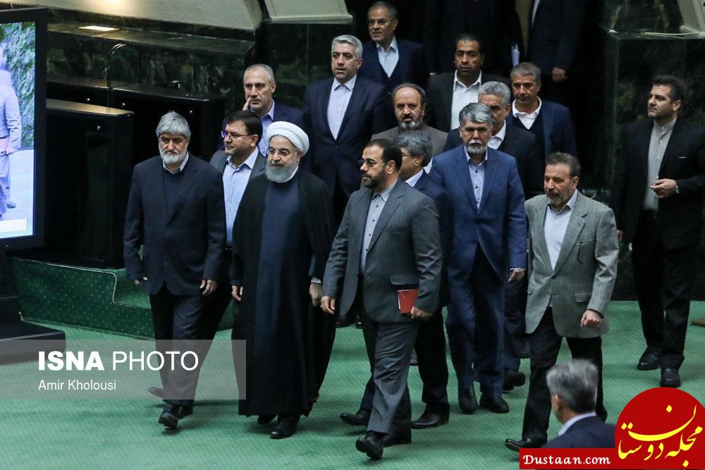 www.dustaan.com استقبال علی مطهری از رئیس جمهور در مجلس +عکس