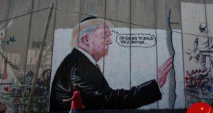 خطخطی کردن چهره ترامپ بر دیوار حائل بیتالمقدس و بیتاللحم + تصاویر