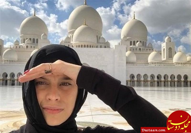 www.dustaan.com حضور همسر بازیکنان رئال مادرید با حجاب اسلامی در مسجد +تصاویر