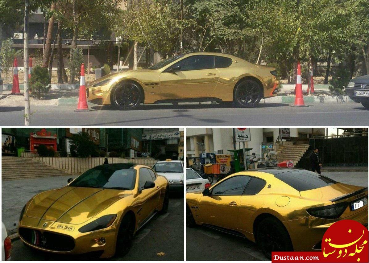 مازراتی طلایی در خیابان های تهران +عکس